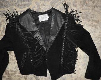 vintage 80s fringe womens black leather suede motorcycle crop jacket