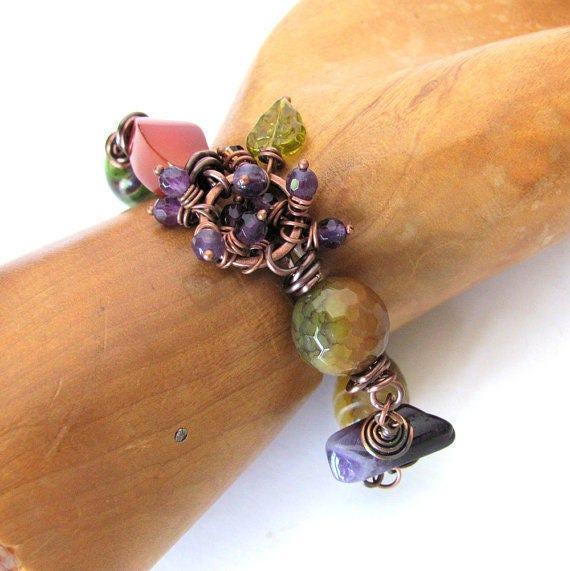 THE VINEYARD gemstone beaded bracelet unique jewelry wine jewelry unusual gift for wine lover gift wine bracelet copper bracelet