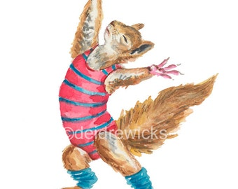 Squirrel Watercolour Painting PRINT - 11x14 Print, Dance Watercolor, Squirrel Art, Nursery Art, 1980s Leotard