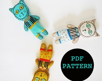 Sara The Circus Cat, Cat lovers diy Gift, Embroidery Pattern, PDF pattern, Doll Pattern, Instant Download, DIY gift, Beginner Sewing,Toy PDF