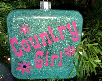 4 inch square aqua glitter with hot pink country girl bling ornament
