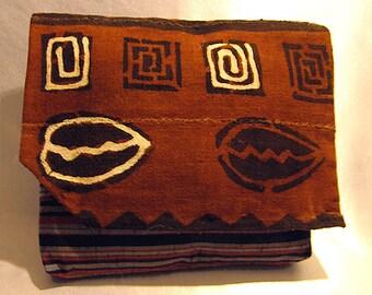 African Mudcloth and Silk Stripe Envelope Pillow PeekABoo