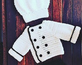 Baby Chef Set Crochet Pattern, Baby Chef's Coat Crochet Pattern, Baby Chef's Hat Crochet Pattern, Chef Set Crochet Pattern, Crochet Pattern
