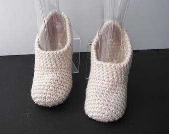 Extra Thick Crochet Adult Slipper in 100%  NZ WOOL / Diabetic Chunky Wool Slippers / Custom crochet wool slippers / ECO wool slippers
