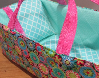 Doll Carrier ,Pink and Aqua, Aqua Lining, 14 Inches Long