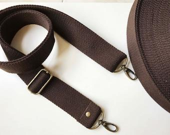 "1.5""  Canvas Webbing strap ,Replacemwnt Bag Strap.Adiustable straps-DARK BROWN"