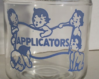 1930-40's Baby Cotton Ball Q-Tip Applicator Clear Glass Apothecary Blue Lettering Babies Dionne Quintuplets Covered Bathroom Jar Retro Mint