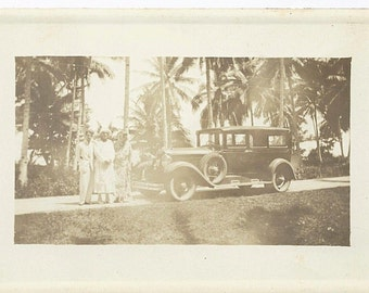 Vintage 1920's Real Photo Postcard of Three People w/Touring Car
