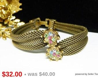 Vintage Mesh Bracelet with Rainbow Iris Rhinestones - Designer Signed TARA