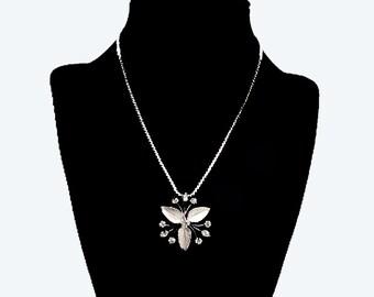 Silver Leaf Pendant Chain Necklace - Clear Crystal Rhinestones  - Signed Krementz  - Vintage 1950s Mid Century
