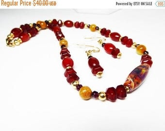 Carnelian Citrine & Garnet Necklace Earring Set - Gemstone Beaded Necklace - Rust, Autumn Gold, Red, Goldfilled Clasp - Vintage