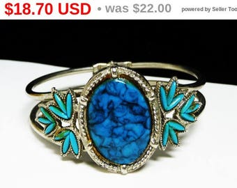 Spring Sale Southwestern Hinged Cuff Bracelet - Faux Turquoise Oval with Navette Cactus Leaves - 1970's - 1980's Retro Jewelry