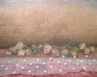 Antique Lace Vintage Tulle Lace Remnant French Edwardian Tulle Lace