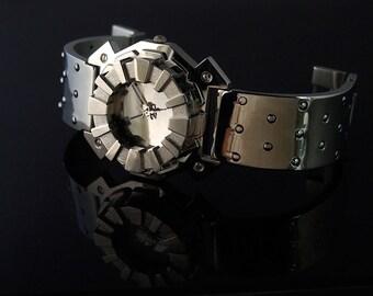 unusual mens watch gift for him Vintage unisex Goth cyberpunk Goth punk London 80s Steampunk watch Hi Tek Designs London Alexander