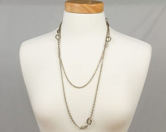Long silver chain necklace, 55 inches, Art Deco, Flapper style necklace, Long one strand necklace, Excellent condition, Fits over the head