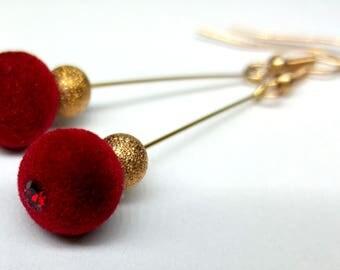 Handmade Red velvet goldfield earrings with swarovski crystal long dangle earrings