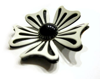 Vintage Black White Enamel Flower Pin Dimensional Brooch Gift for Mom Gift for Her Under 15 Jewelry Gift