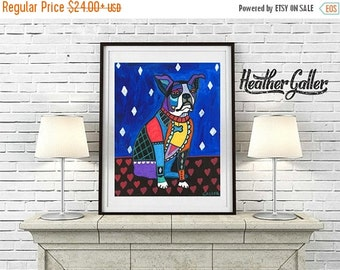 50% Off Today- Boston Terrier Art Art Print Poster by Heather Galler