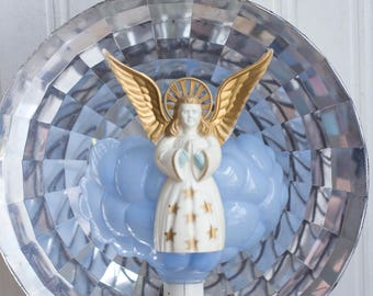 Vintage Angel Topper, Heavenly Reflecting Light, Christmas Tree Top, Silver Gold Blue, Kitsch Mid Century, 1940's 50s Xmas Decor