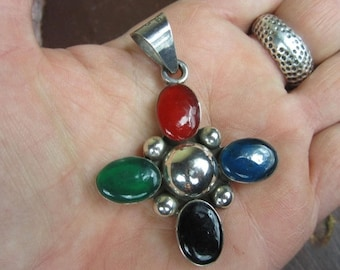 On Sale Vintage Mexican Multi Stone Sterling Silver Pendant Cross crucifix