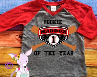 First Birthday Shirt Baseball Style Boys Baseball Raglan Name and Number One Shirt First Birthday Shirt Custom Birthday Rookie of the Year
