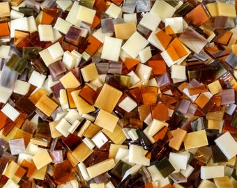 Brown Assorted Stained Glass Mosaic Tiles