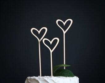 heart wedding cake topper   heart cake topper   wood cake topper   love cake topper   rustic cake topper   hearts wedding cake topper