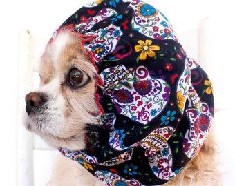 Sugar Skulls Dog Snood, Cotton Long Ear Coverup, Cavalier King Charles or Cocker Snood, Black Pet Snood