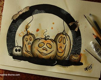 SALE Pumpkin gang, original art, mixed media, Halloween, Inktober, Drawlloween, autumn, fall, painting, ink, watercolors, pencils