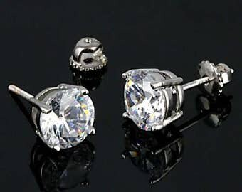 1 carat each, 6.5mm Round Brilliant-cut Russian Ice on Fire Diamond CZ Screw Back Stud Earrings, Solid 925 Sterling Silver, Threaded Posts