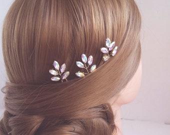Crystal Hair Pins, Rhinestone Leaf Hair Pieces, Wedding Hair Comb, Bridal Hair pins, Crystal Vine Hairpiece, Leaf Hairpins, Headpieces