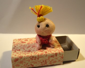 Miniature Movable Doll  Soft Sculpture in Matchbox
