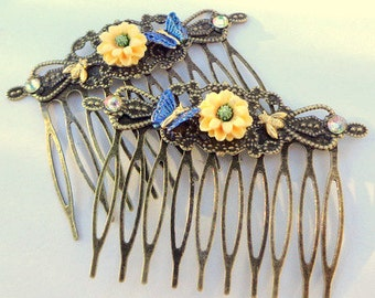 Yellow Mums, Blue Glitering Butterflies & Honey Bees, Antiqued Brass Hair Combs, Hair Accessories,Flower Girl, Bridesmaid, Prom Hair, OOAK