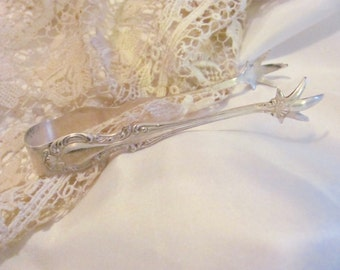 """Antique Silver Plate Small Claw Feet Sugar Tongs - 4"""" Inches Joan 1896 Pattern"""