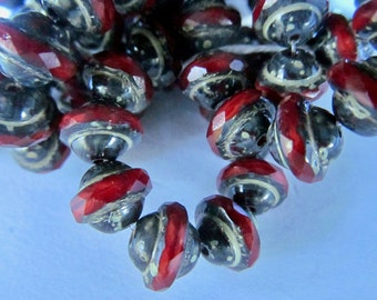 20 Dark Red Center Cut Oval with Picasso Accent  11x10mm size