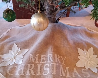 burlap Christmas tree skirt featuring 'MERRY CHRISTMAS', vintage wool flowers with vintage button centers