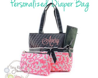 Personalized Diaper Bag - Coral Ivy Monogrammed Baby Tote, Changing Pad, Mommy Bag