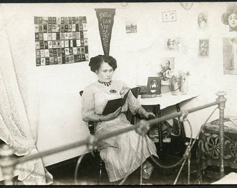 SMILE DAM YOU Smile As Serious Woman Reads Book Photo Postcard circa 1910