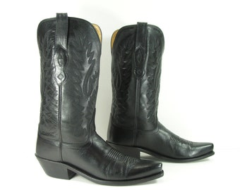 vintage cowboy boots women's 7 M B black old west genuine leather cowgirl