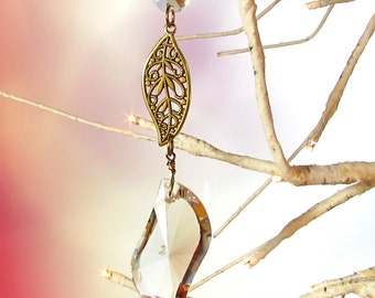 Crystal Prism Sun Catcher & Christmas Decoration, Filigree Leaf, 1S-48