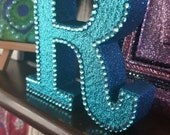 Letter R, turquoise teal glitter with matching rhinestones, glittered, initial, name, freestanding, sparkly
