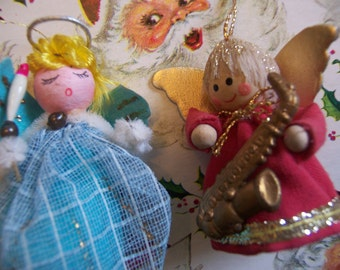 two tiny vintage angel ornaments