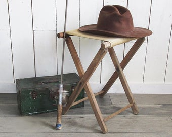 Rustic Wood & Canvas Folding Camp Stool - Nice Patina From Years of Use