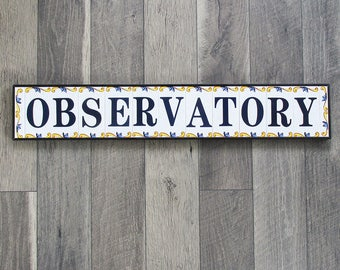 "Vintage Spanish Tile ""OBSERVATORY"" Sign, Astronomer Sign - 35"" X 6"""