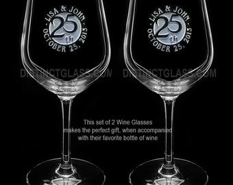 25th Anniversary Wine Glasses, 10th 15th 20th 25th 30th 40th 50th Anniversary Glasses Gifts for Parents Grandparents Canada