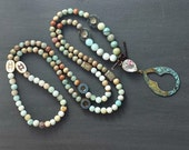 Long Boho Beaded Necklace with Clear Glass Stone and Metal Patina Pendant Charm