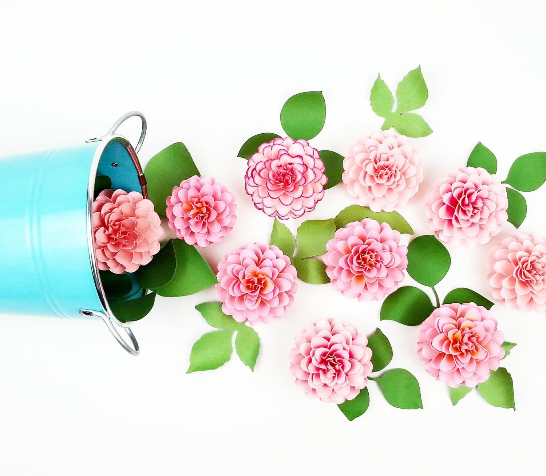 The Full Bloom Dahlia Handmade Paper Flower Set Of 3 Flowers