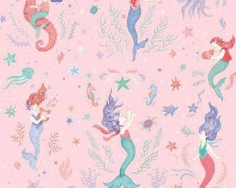 Studio E Mermaid Dreams Pink Mermaid Allover fabric - 1 yard