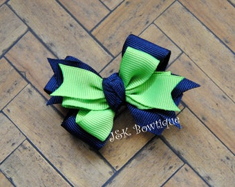 Navy and lime green....small classic layered bow...hair bow, hair clip