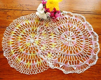 Two Vintage Hand Crocheted Hairpin Doilies Yellow And Pink